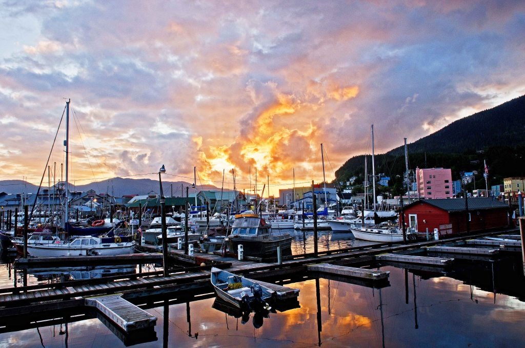 Rare sunset over Ketchikan Harbor