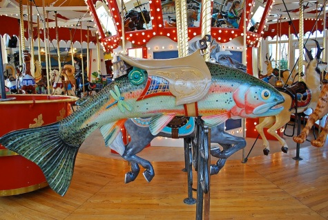 Cutthroat Trout ride at the Great Northern Carousel, Helena, Montana